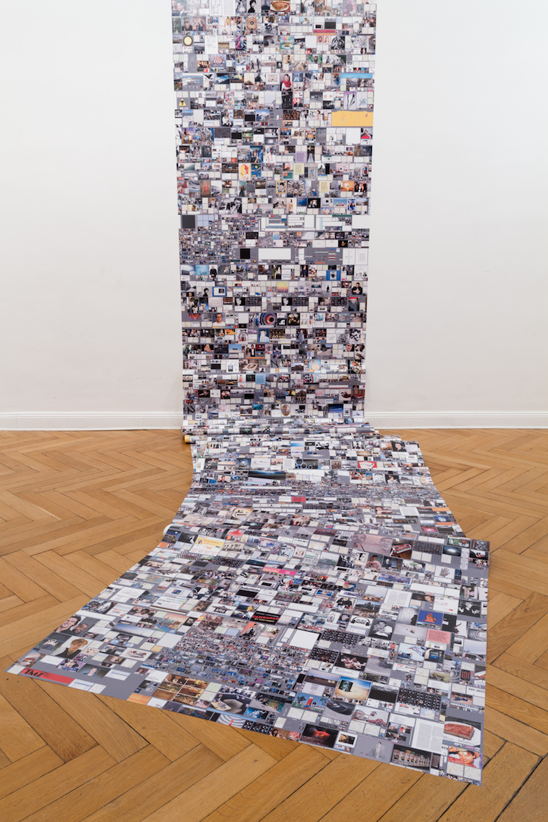 Evan Roth, Internet Cache Self Portrait: July 17, 2012 (2013), Vinyl Print 150cmx1300cm. Installation view from Gordian Conviviality at Import Projects, Berlin, DE. Photo: Benjamin Busch. Courtesy of the artist.