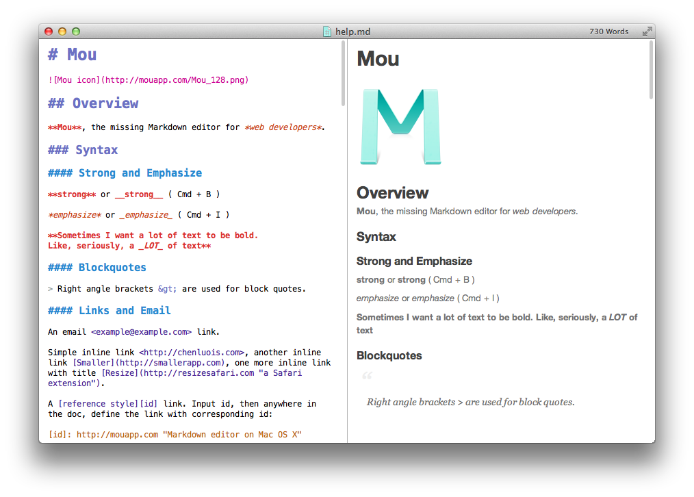 Fig. 24: Screenshot from Mou editor showing both Markdown source and the rendered HTML output. Source: http://25.io/mou/