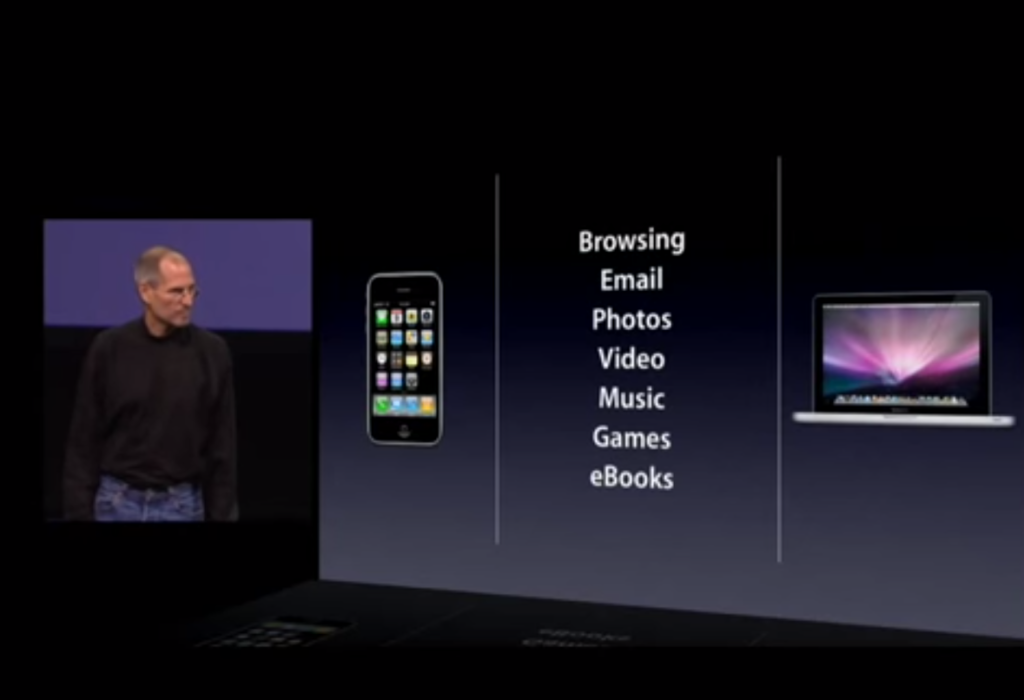 Fig. 10: Steve Jobs describes the key functionalities of the iPad, 2010. Source: https://www.youtube.com/watch?v=_KN–5zmvjAo