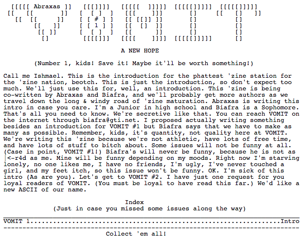 Fig: 22. Vomit e-zine. Source: http://textfiles.com/magazines/VOMIT/vomit001.txt