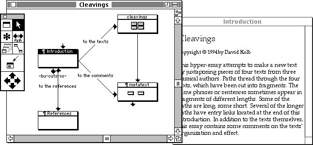 Fig. 8: A screenshot of Storyspace's interface. Source: http://www.mprove.de/diplom/text/2.1.11_storyspace.html
