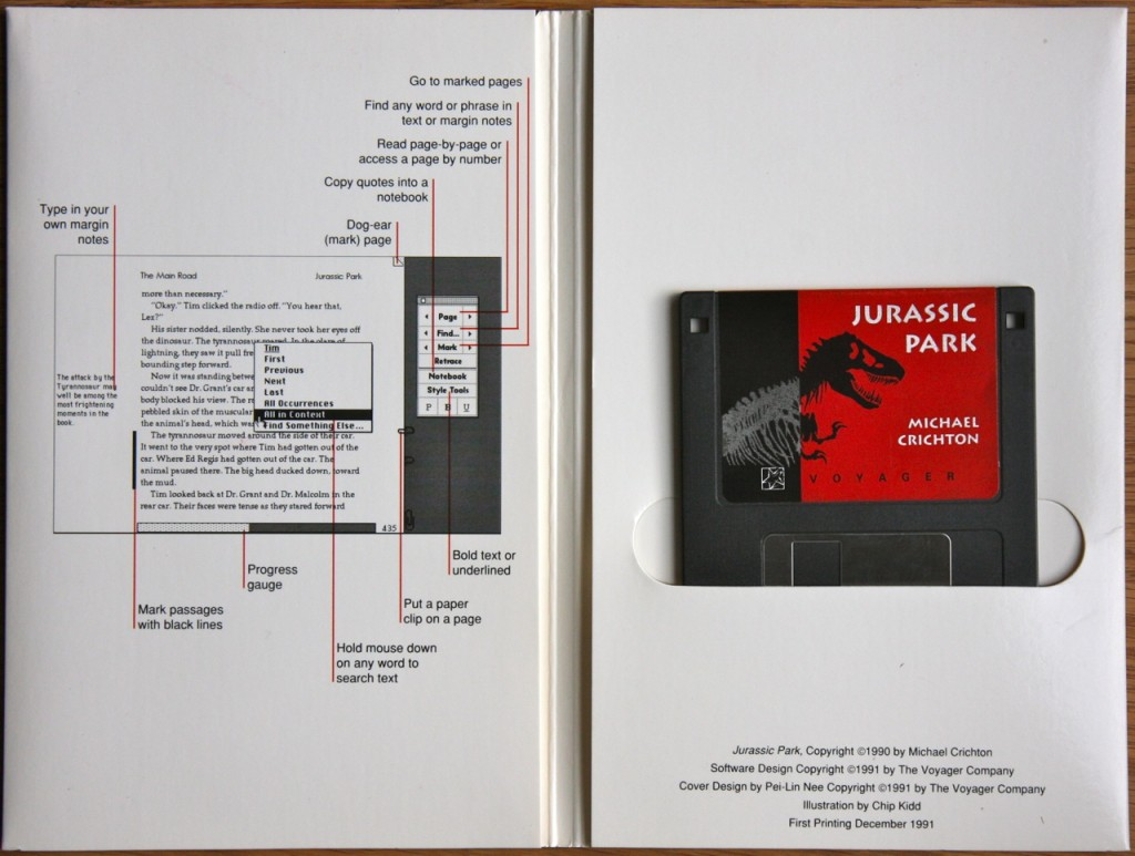 Jurassic Park Expanded Book, Voyager Company, 1991. Source: http://alfabravo.com/2011/08/early-ebooks-and-why-they-failed/