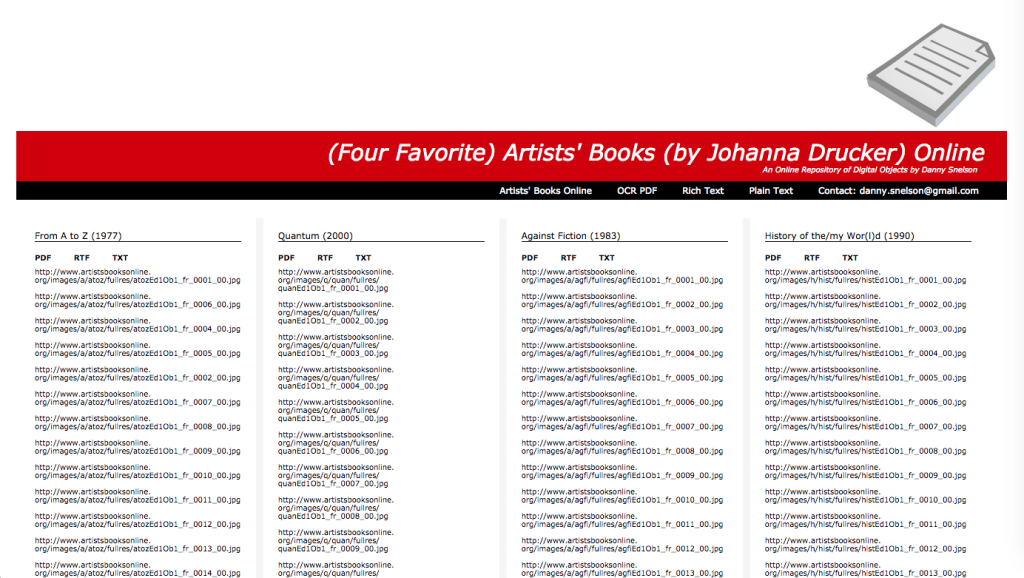 (Four Favorite) Artists' Books (by Johanna Drucker) Online
