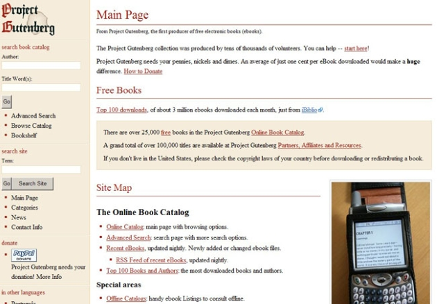 Project Gutenberg's homepage