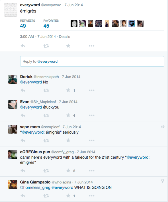 Reactions to a tweet by @everyword.