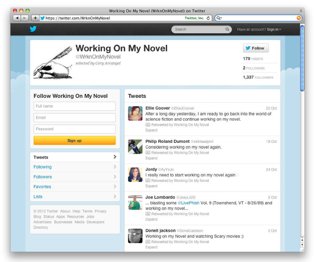 Working on My Novel Twitter account.