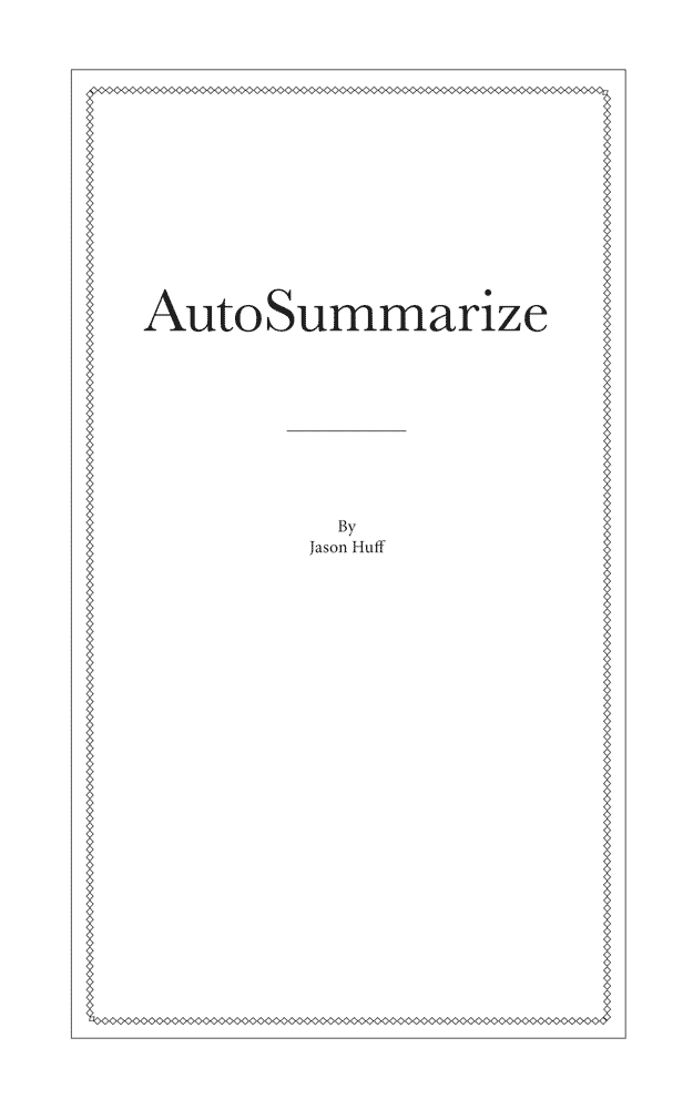 Autosummarize