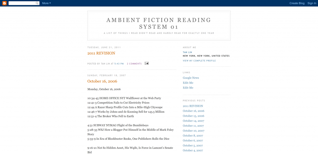 Ambient Fiction Reading System 01: A List of Things I Read Didn't Read and Hardly Read for Exactly One Year