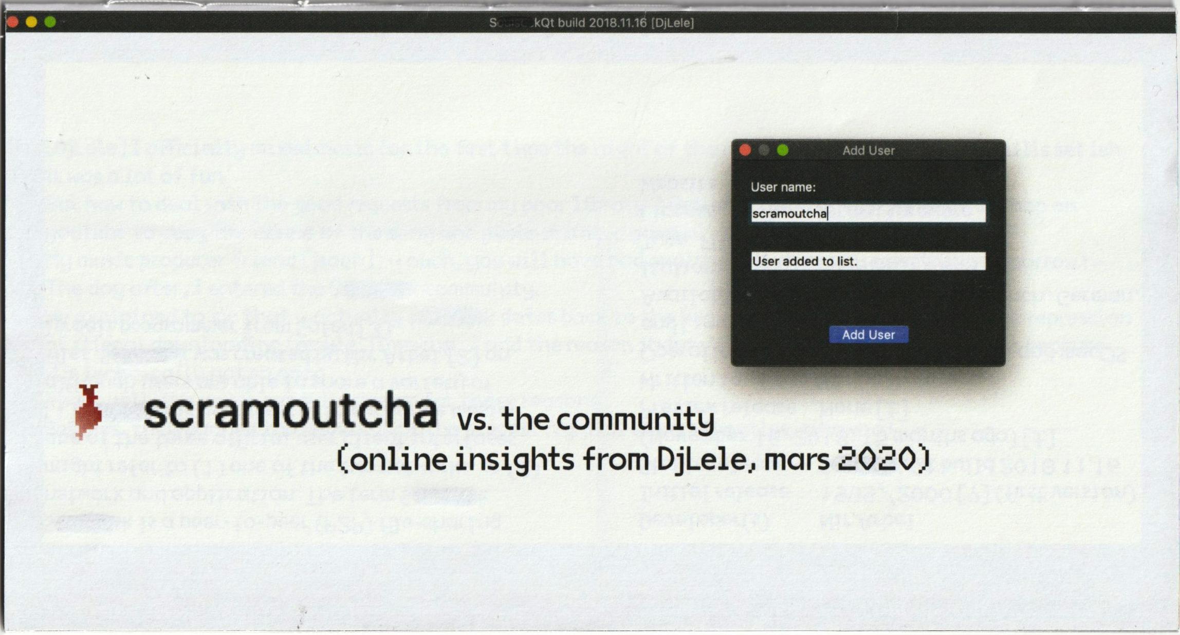 Scramoutcha vs the Community